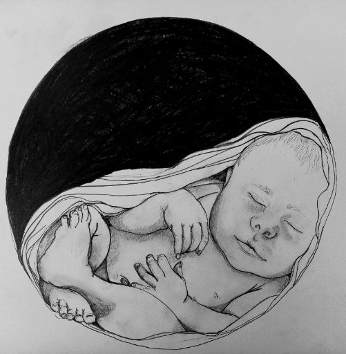 In the beginning... ...the project was born, it was born through an image. An image of a baby swaddled safely and in comfort of a circular womb Blackhole like space, an unknown place yet present in essence and in feeling. Throughout this project.  I have been exploring my ideas of safety by taking the parts of this whole image, to analyses and separate further and interpret informed by experience of what each part presented. Creating a new understanding of the whole.  Using hermeneutic phenomenology as an attempt to look at 'our' internalised sense of self/object, that may help us self–regulate and create safety for ourselves and create an insight in creating safety for my future clients.   Medium: Pencil and charcoal on paper. Size: Approximate=26cm x 26cm Year: 17/9/19